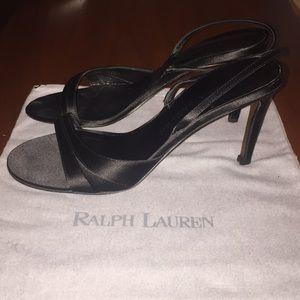 Ralph Lauren Black Satin Heels Sz 7